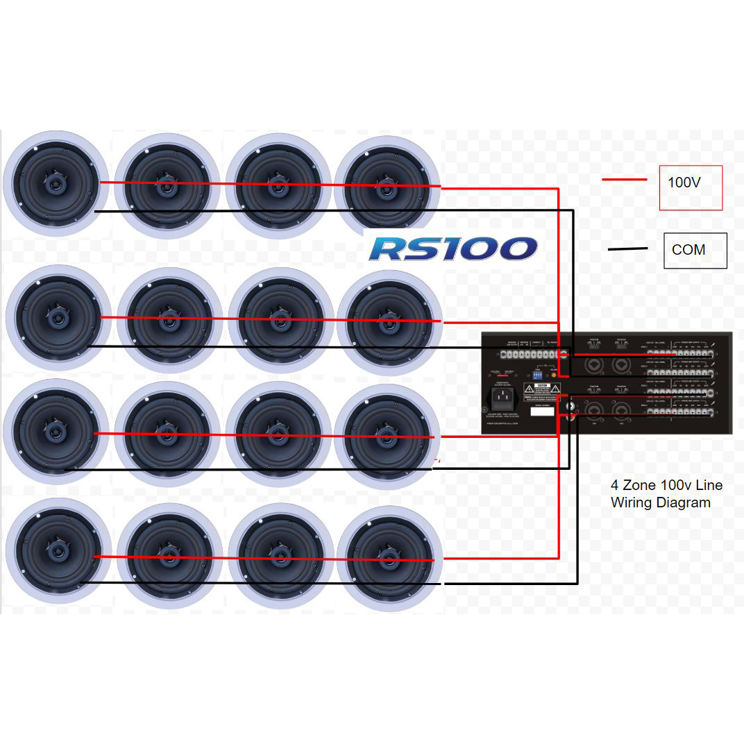 Rs100 4 Zone 480w Background Music Amplifier Commercial 100v Speaker Wiring Diagram