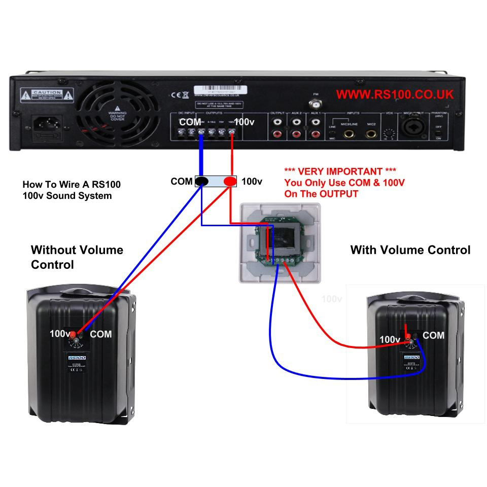 How To Wire A 100v Line Speakers System Rs100 Background