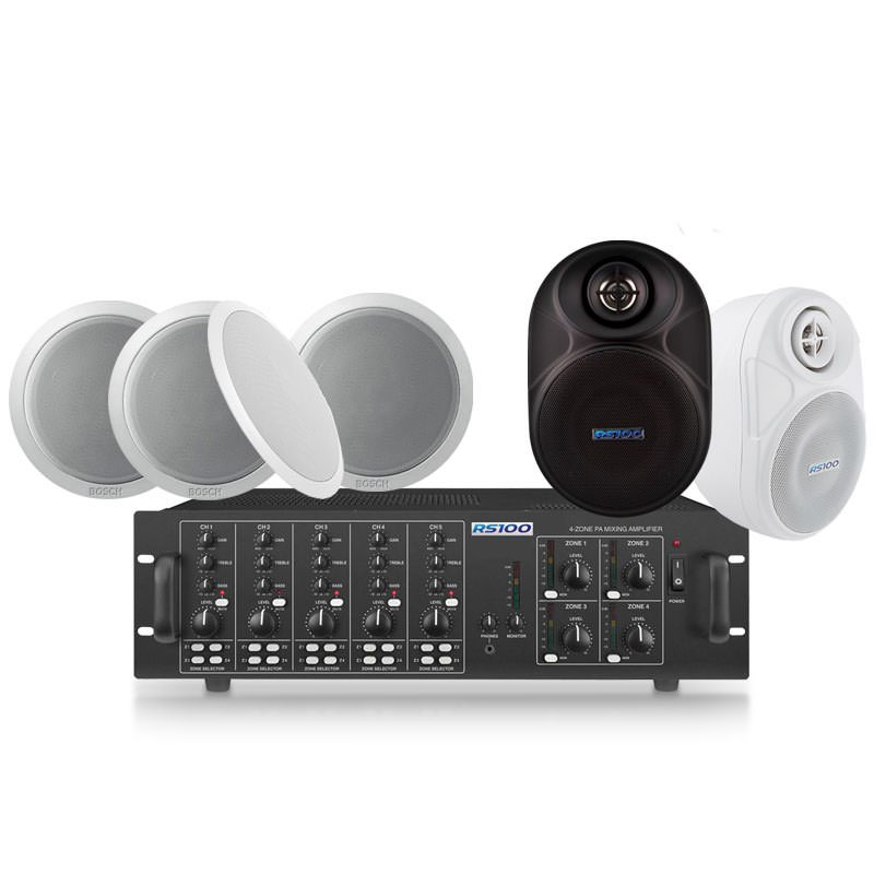 16 Speaker 4 Zone Background Music System