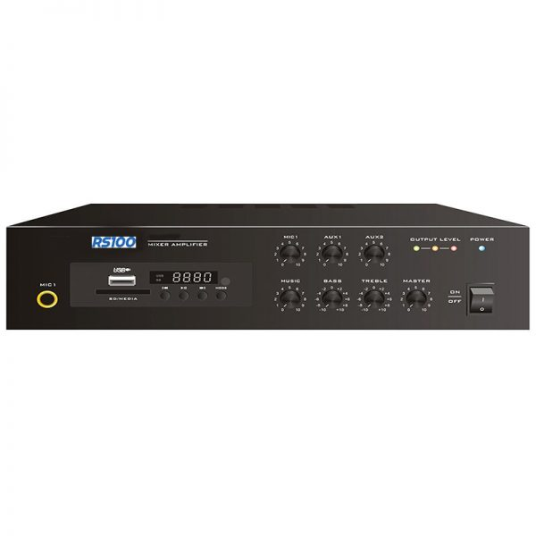 60w 100V Line Desktop PA Mixer Amplifier with MP3 Player and Bluetooth